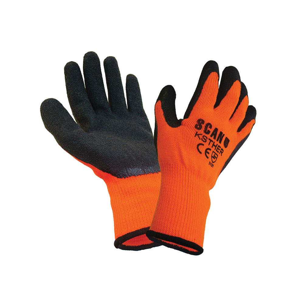 SCAN KNITSHELL THERMAL GLOVES ORANGE  BLACK