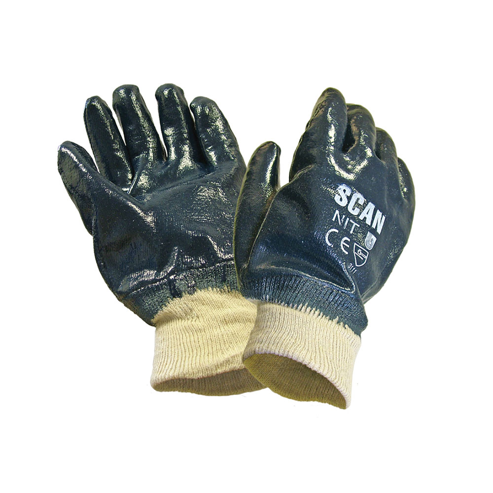 SCAN NITRILE KNITWRIST HEAVY DUTY GLOVES