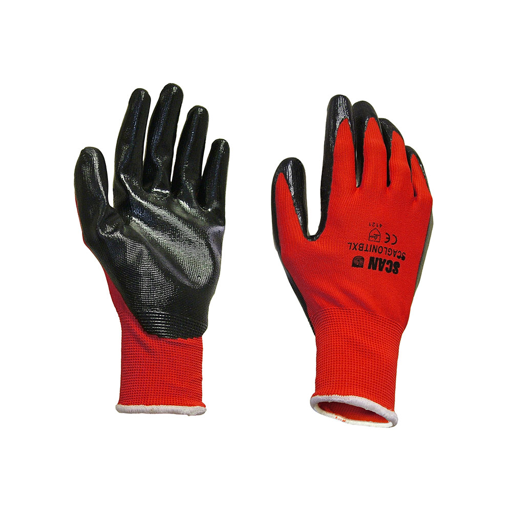 SCAN RED NITRILE PALM DIPPED GLOVE 13G